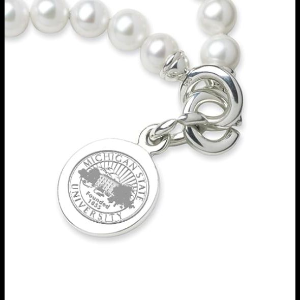 Michigan State Pearl Bracelet with Sterling Silver Charm - Image 2