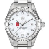 NC State Women's TAG Heuer Steel Aquaracer with MOP Diamond Dial & Diamond Bezel