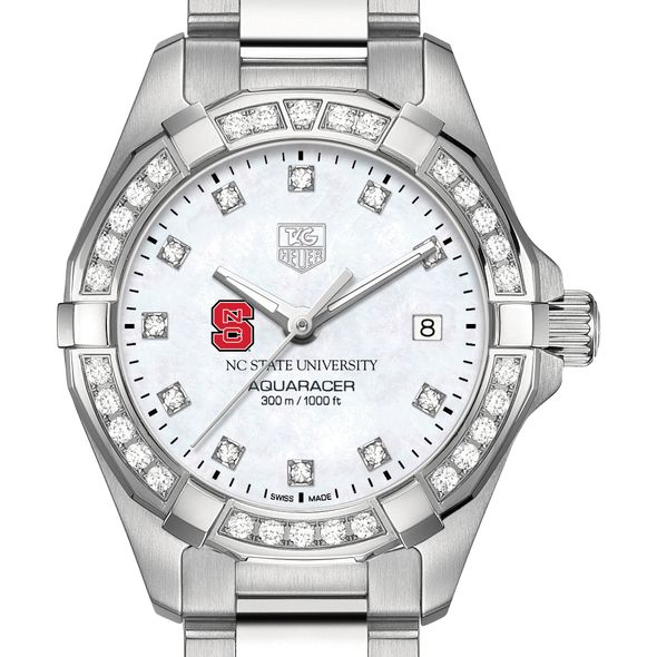 North Carolina State W's TAG Heuer Steel Aquaracer with MOP Dia Dial & Bezel