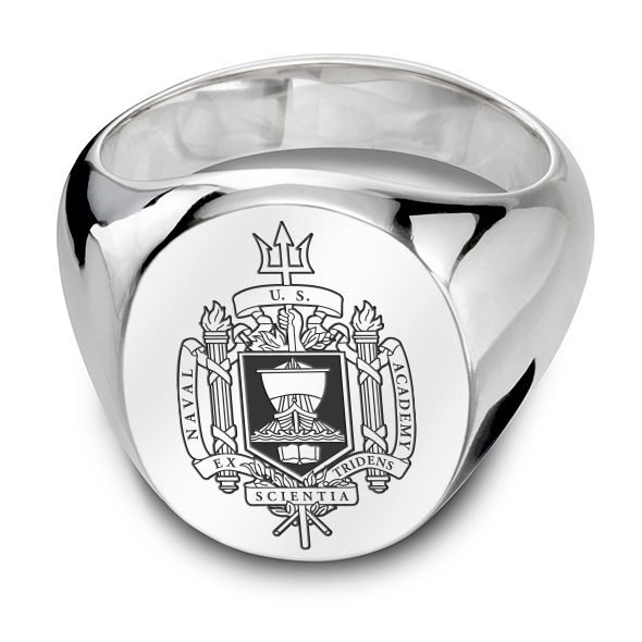 US Naval Academy Sterling Silver Oval Signet Ring