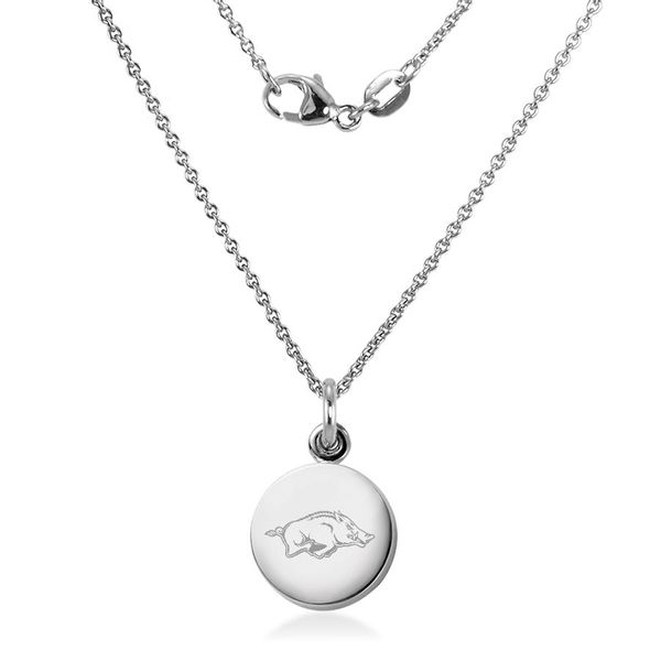 University of Arkansas Necklace with Charm in Sterling Silver - Image 2