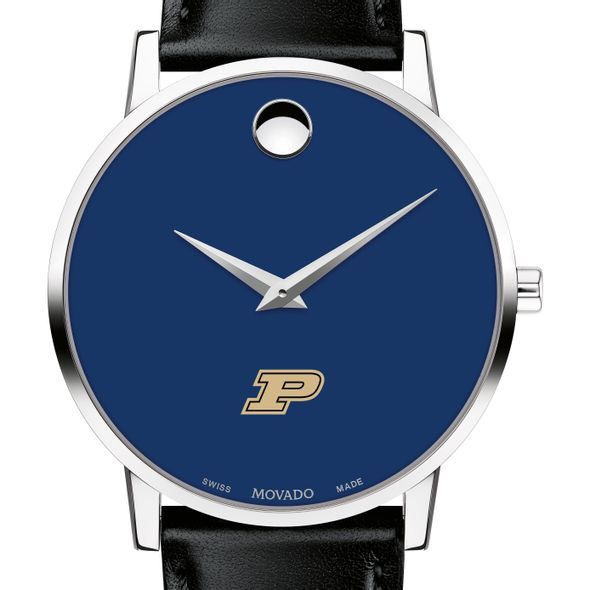 Purdue University Men's Movado Museum with Blue Dial & Leather Strap