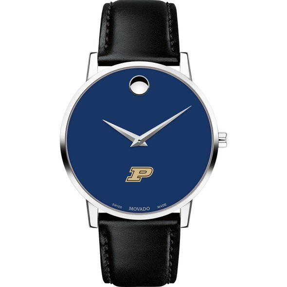 Purdue University Men's Movado Museum with Blue Dial & Leather Strap - Image 2