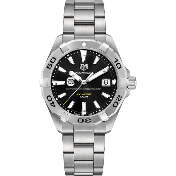 University of South Carolina Men's TAG Heuer Steel Aquaracer with Black Dial - Image 2