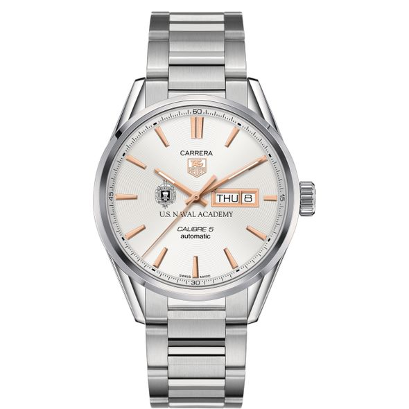 US Naval Academy Men's TAG Heuer Day/Date Carrera with Silver Dial & Bracelet - Image 2
