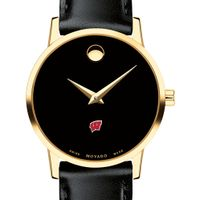 University of Wisconsin Women's Movado Gold Museum Classic Leather
