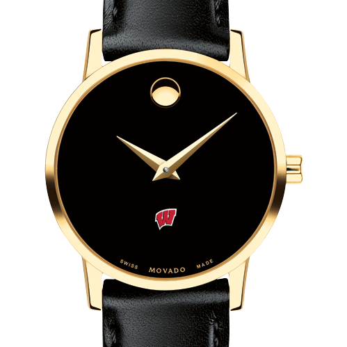 Wisconsin Women's Movado Gold Museum Classic Leather