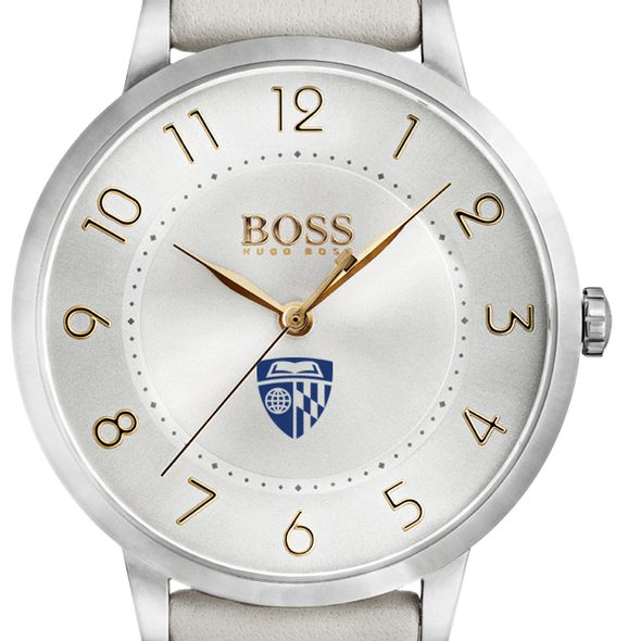 Johns Hopkins University Women's BOSS White Leather from M.LaHart - Image 1