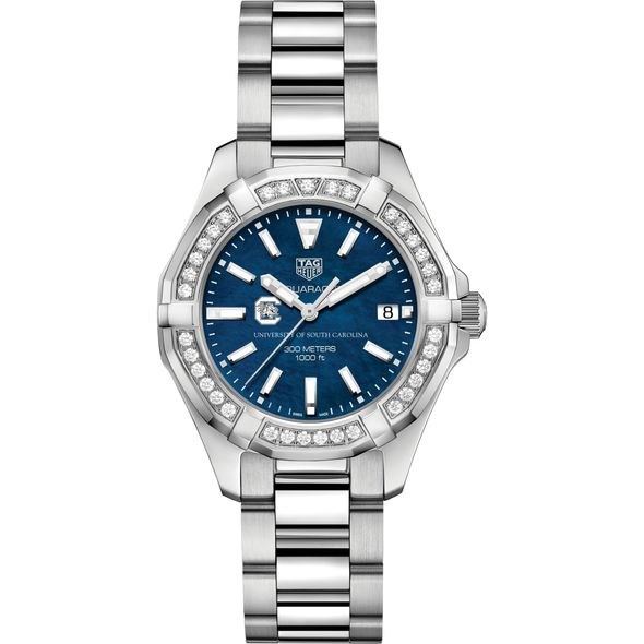 South Carolina Women's TAG Heuer 35mm Steel Aquaracer with Blue Dial - Image 2