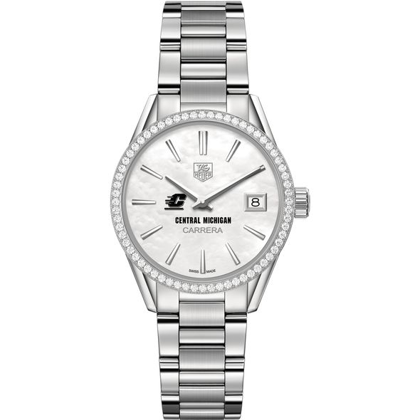 Central Michigan Women's TAG Heuer Steel Carrera with MOP Dial & Diamond Bezel - Image 2