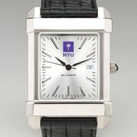 NYU Men's Collegiate Watch with Leather Strap