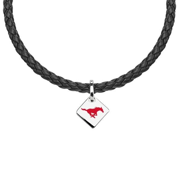Southern Methodist University Leather Necklace with Sterling Silver Tag - Image 1