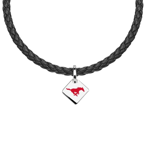 Southern Methodist University Leather Necklace with Sterling Silver Tag