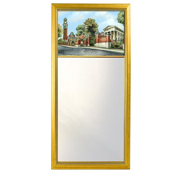 Brown Eglomise Mirror with Gold Frame
