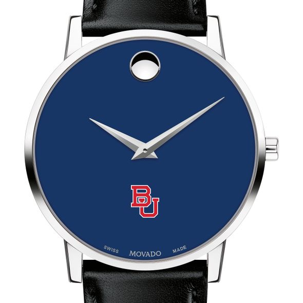 Boston University Men's Movado Museum with Blue Dial & Leather Strap