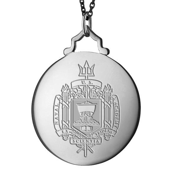 Naval Academy Monica Rich Kosann Round Charm in Silver with Stone - Image 2