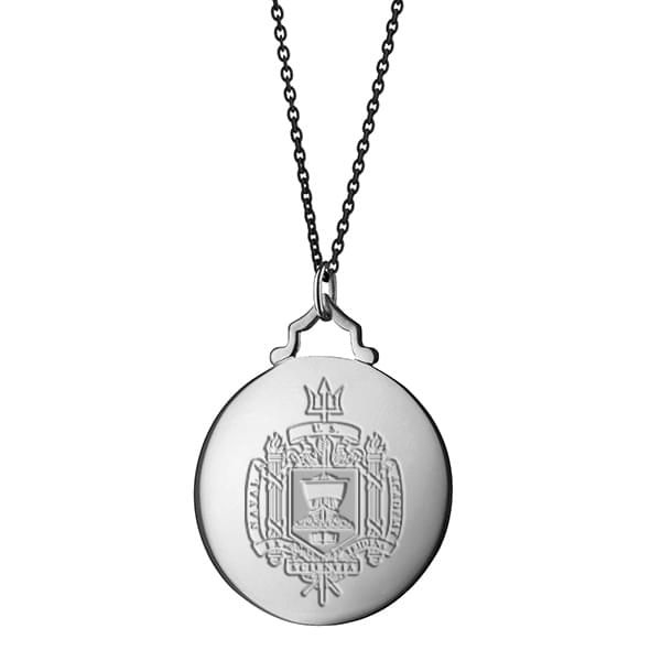 Naval Academy Monica Rich Kosann Round Charm in Silver with Stone - Image 3