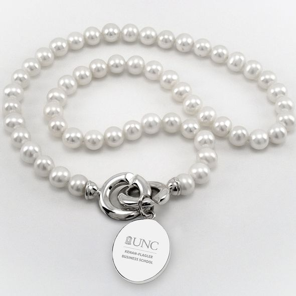 UNC Kenan-Flagler Pearl Necklace with Sterling Silver Charm