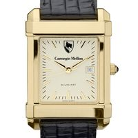 Carnegie Mellon University Men's Gold Quad with Leather Strap