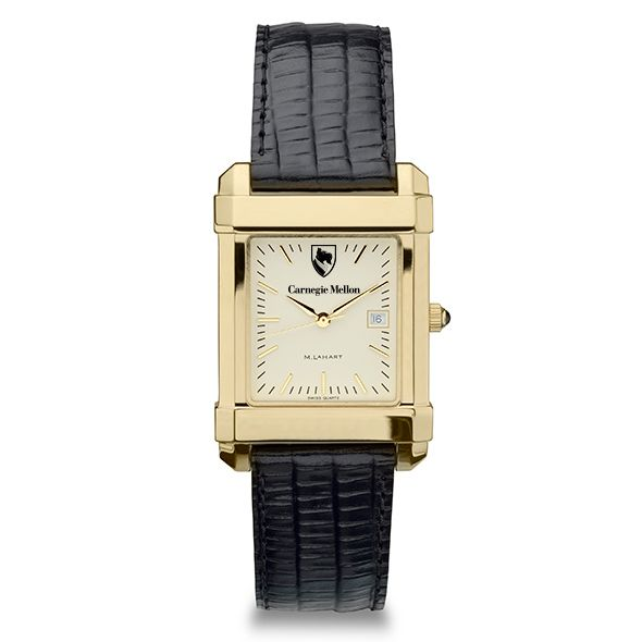 Carnegie Mellon University Men's Gold Quad with Leather Strap - Image 2
