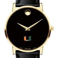 University of Miami Men's Movado Gold Museum Classic Leather