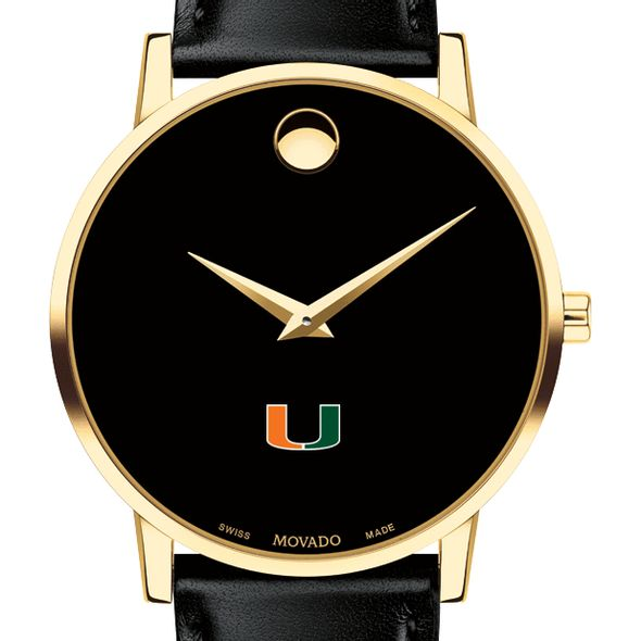 University of Miami Men's Movado Gold Museum Classic Leather - Image 1