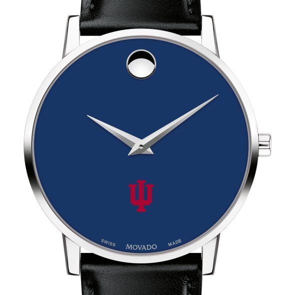 Indiana University Men's Movado Museum with Blue Dial & Leather Strap