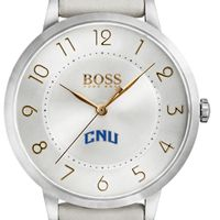 Christopher Newport University Women's BOSS White Leather from M.LaHart
