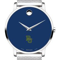 Baylor University Men's Movado Museum with Blue Dial & Mesh Bracelet