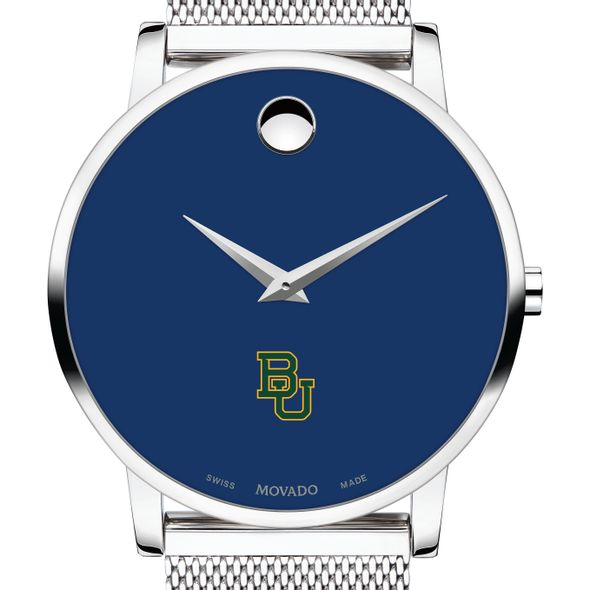 Baylor University Men's Movado Museum with Blue Dial & Mesh Bracelet