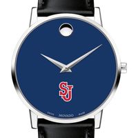 St. John's University Men's Movado Museum with Blue Dial & Leather Strap