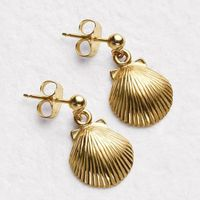 14K Gold Shell Earrings