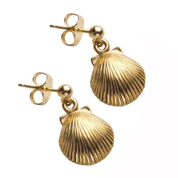 14K Gold Shell Earrings - Image 2