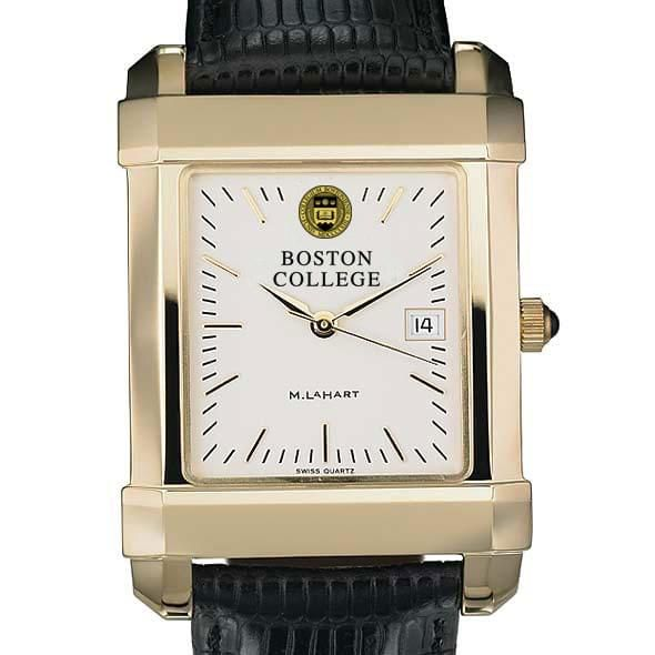 Boston College Men's Gold Quad Watch with Leather Strap