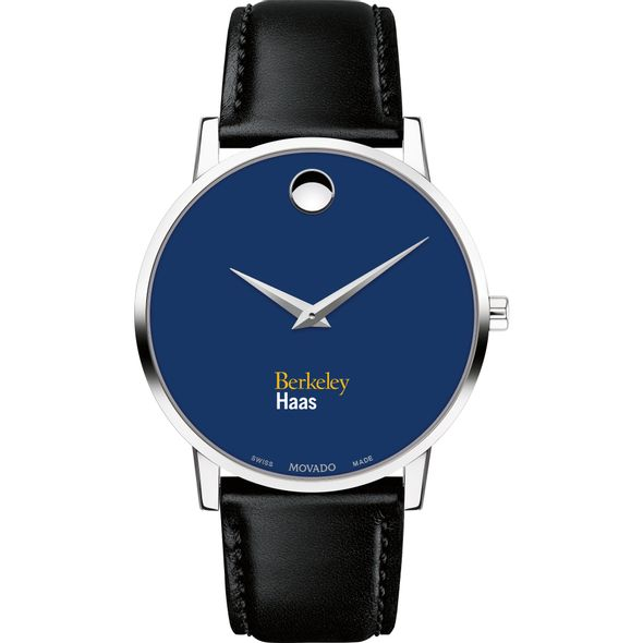 Haas School of Business Men's Movado Museum with Blue Dial & Leather Strap - Image 2