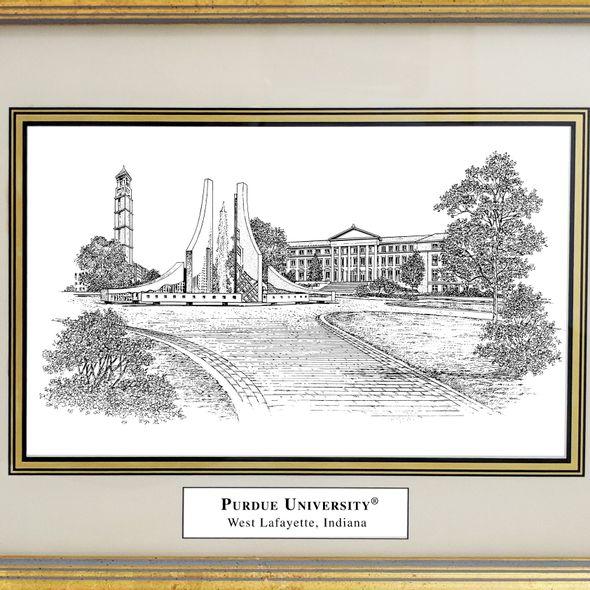 Purdue University Black Ink Gold Frame - Image 2