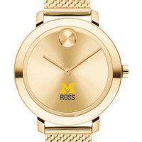 Michigan Ross Women's Movado Bold Gold with Mesh Bracelet