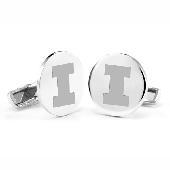 University of Illinois Cufflinks in Sterling Silver