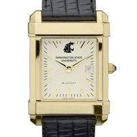 Washington State University Men's Gold Quad with Leather Strap
