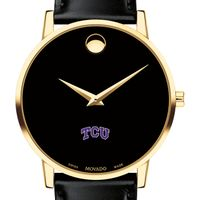 Texas Christian University Men's Movado Gold Museum Classic Leather