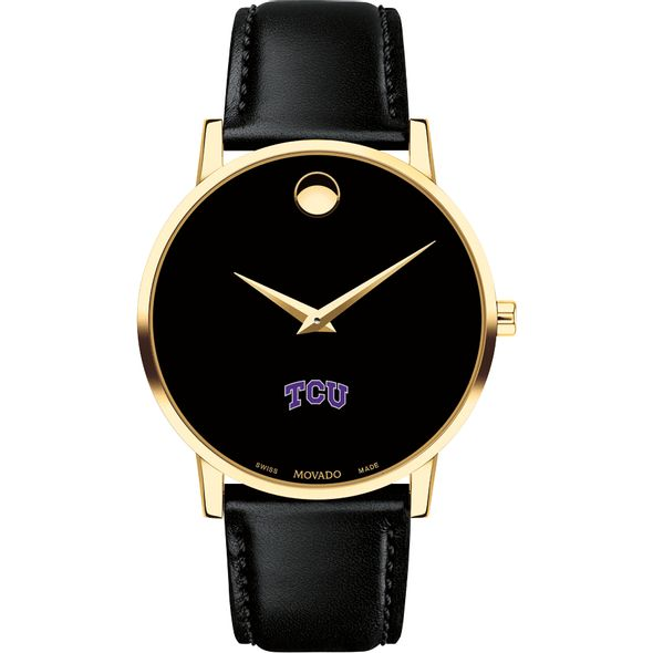 Texas Christian University Men's Movado Gold Museum Classic Leather - Image 2