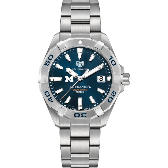 Michigan Ross Men's TAG Heuer Steel Aquaracer with Blue Dial - Image 2
