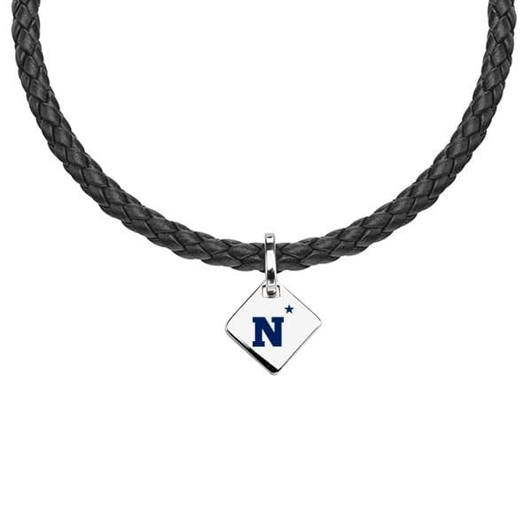 Naval Academy Leather Necklace with Sterling Silver Tag