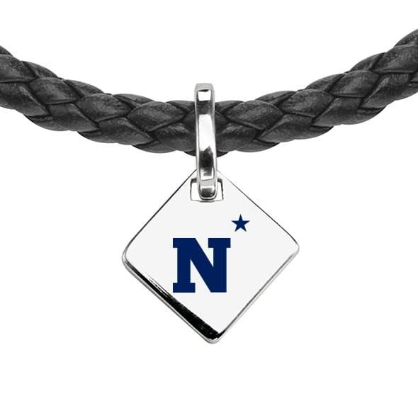 Naval Academy Leather Necklace with Sterling Silver Tag - Image 2