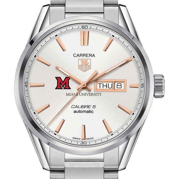 Miami University Men's TAG Heuer Day/Date Carrera with Silver Dial & Bracelet