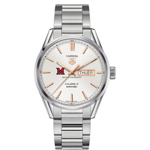 Miami University Men's TAG Heuer Day/Date Carrera with Silver Dial & Bracelet - Image 2