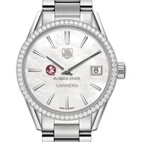 Florida State Women's TAG Heuer Steel Carrera with MOP Dial & Diamond Bezel