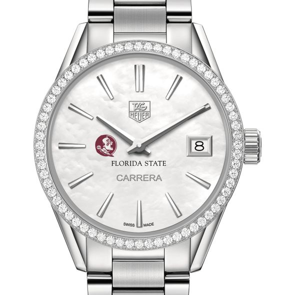 Florida State University Women's TAG Heuer Steel Carrera with MOP Dial & Diamond Bezel