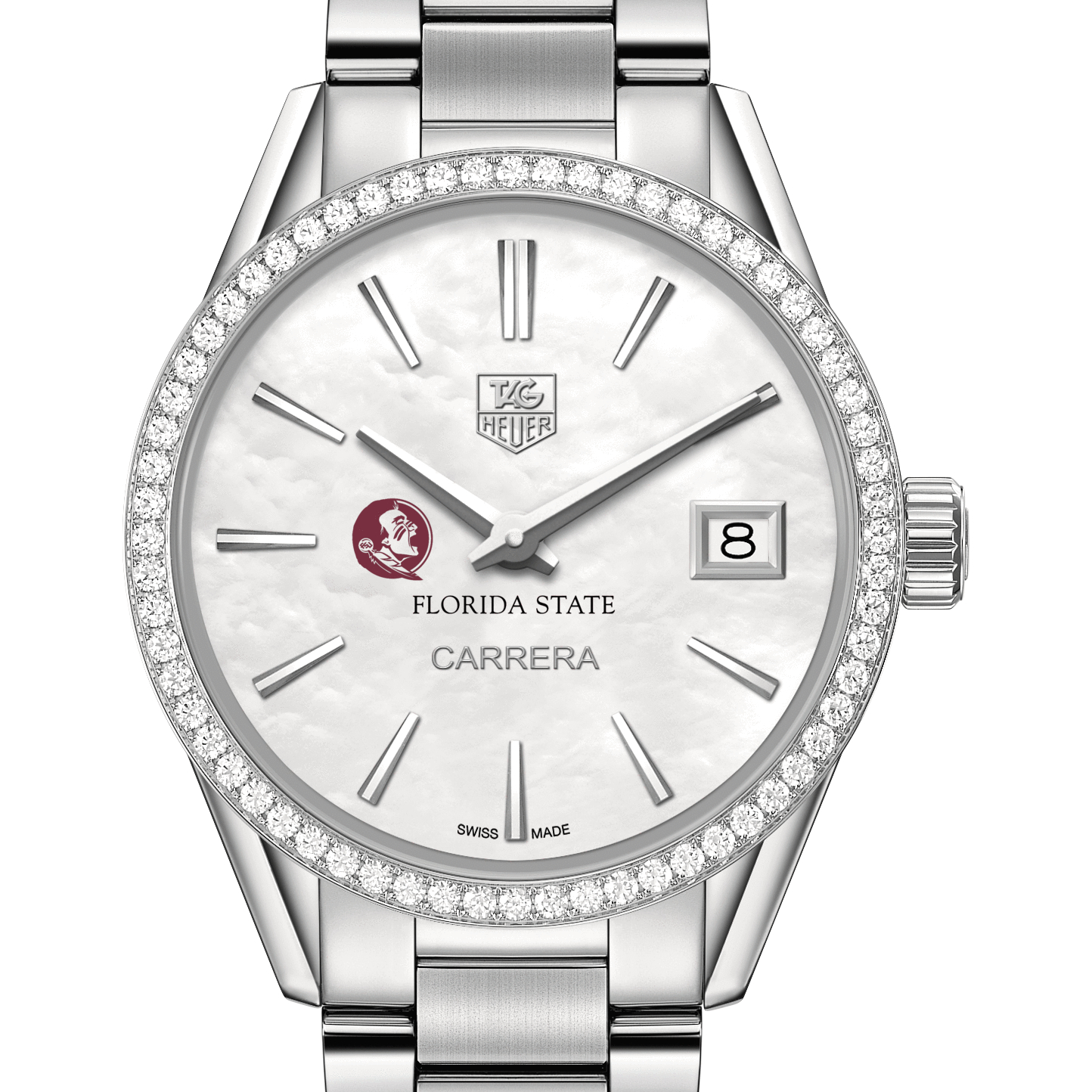 Florida State Women's TAG Heuer Steel Carrera with MOP Dial & Diamond Bezel - Image 1