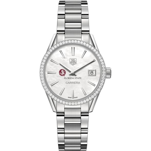 Florida State University Women's TAG Heuer Steel Carrera with MOP Dial & Diamond Bezel - Image 2